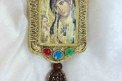 Antique Fabric Theotokos Ornament 1